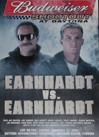 An original Earnhardt vs. Earnhardt poster from the infamous Speed Weeks February, 2001