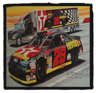 An original oil painting of the Havoline #28 autographed by Ernie Irvan.