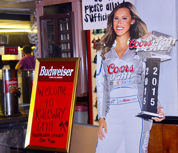 Raceway Grill - silver bullet gal welcome
