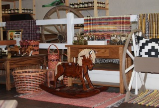 front area rockin horse plus rugs-baskets