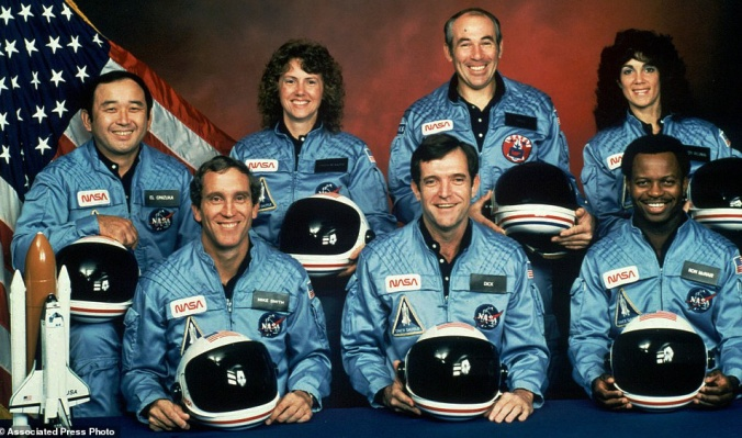 Michael J. Smith, Francis R. (Dick) Scobee, and Ronald E. McNair, Ellison Onizuka, Christa McAuliffe, Gregory Jarvis, Judith Resnik